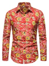 Casual Print Lapel Floral Single-Breasted Men's Shirt