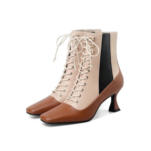Side Zipper Patchwork Horse-Shoe Heel Square Toe Lace-Up Boots