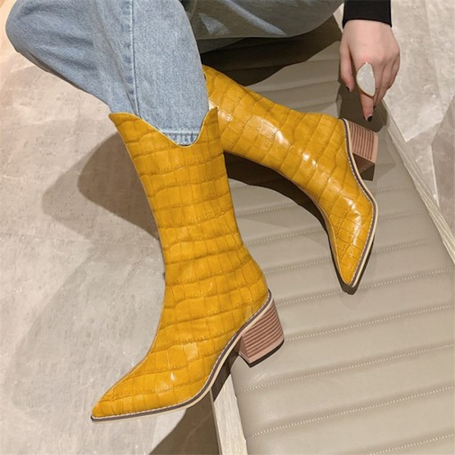 Slip-On Pointed Toe Plain Alligator Pattern Boots