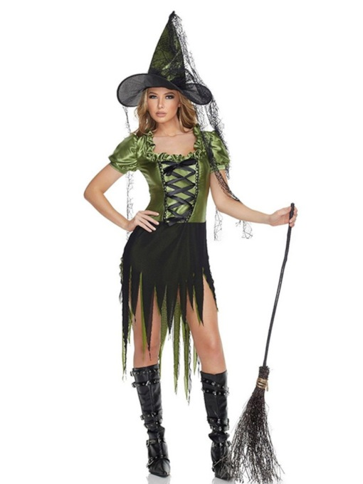 Asymmetric Short Sleeve Western Color Block Classic Halloween Women's Costumes