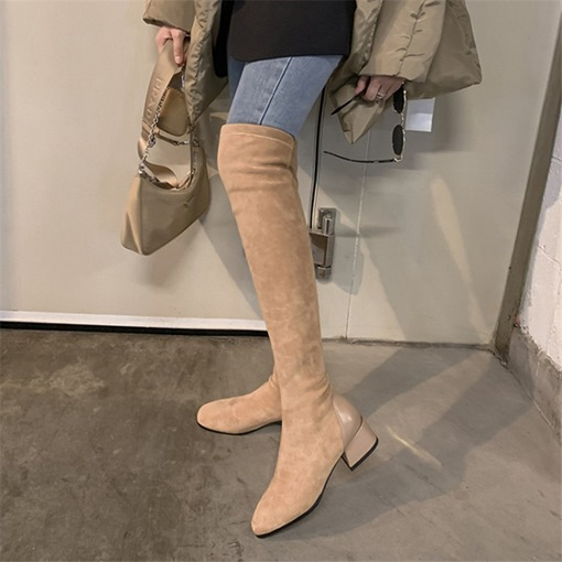 Slip-On Square Toe Patchwork Thread Boots