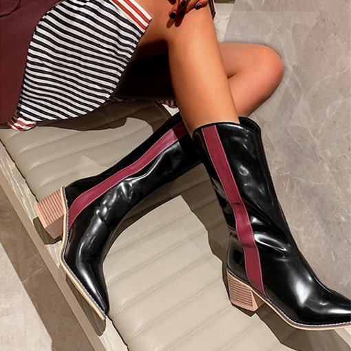 Pointed Toe Color Block Slip-On OL Boots