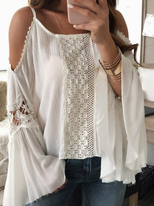 Flare Sleeve Plain Lace Standard Women's Blouse