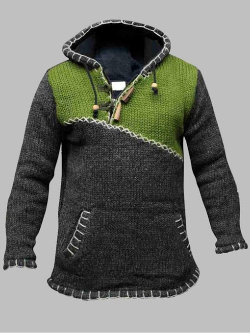 Patchwork Hooded Standard Color Block Fall Men's Sweater