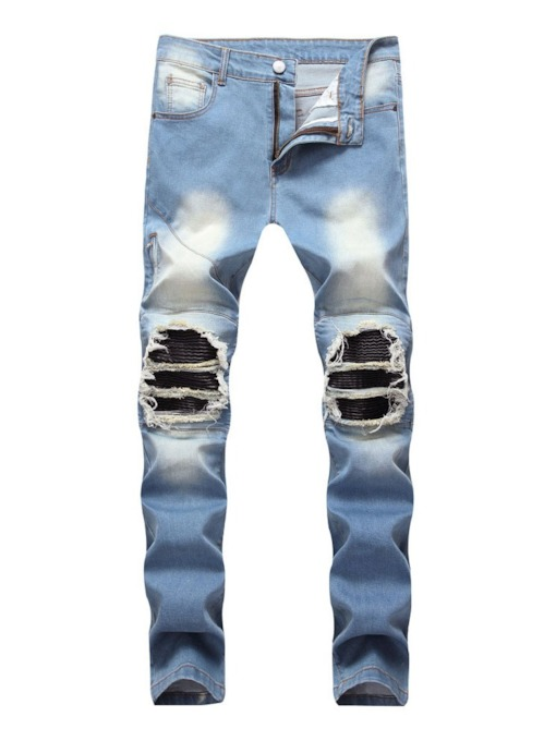 Patchwork Straight Zipper Men's Jeans