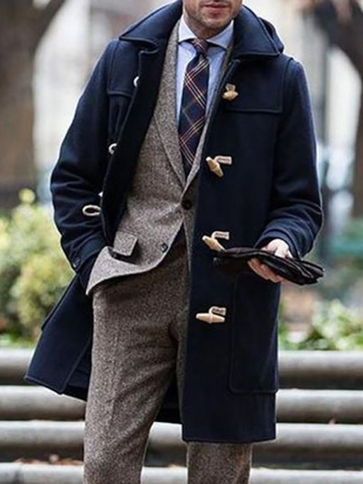 Plain Mid-Length Lapel Fall Men's Coat