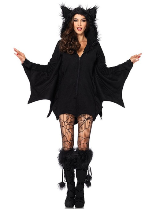 Long Sleeve Zipper Plain Simple Classic Halloween Women's Costumes