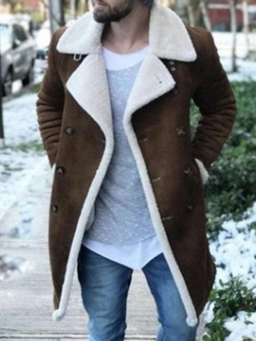Patchwork Mid-Length Straight Men's Coat