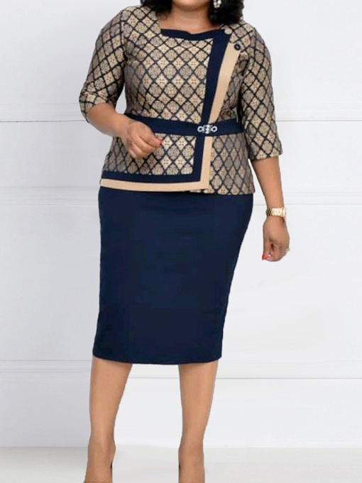 Skirt Office Lady Color Block Patchwork Bodycon Women's Two Piece Sets
