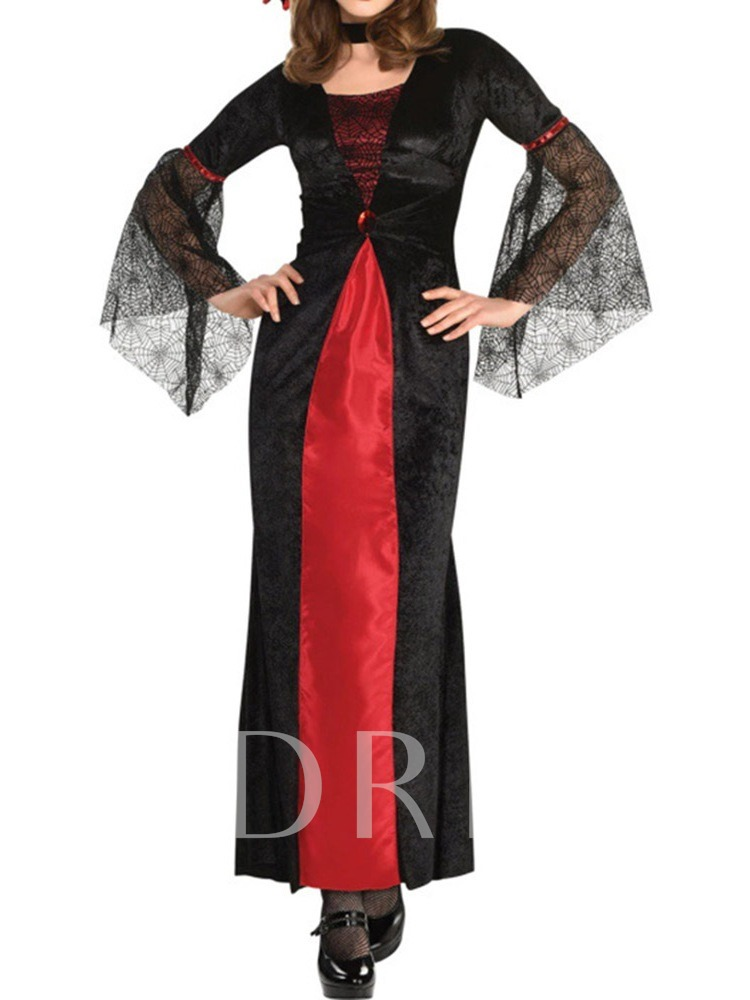 Western Long Sleeve Color Block Mesh Fall Women's Costumes