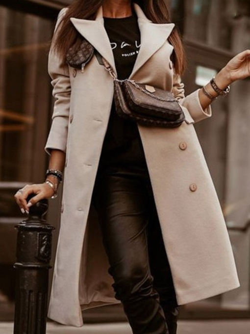 Button Slim Double-Breasted Lapel Women's Overcoat