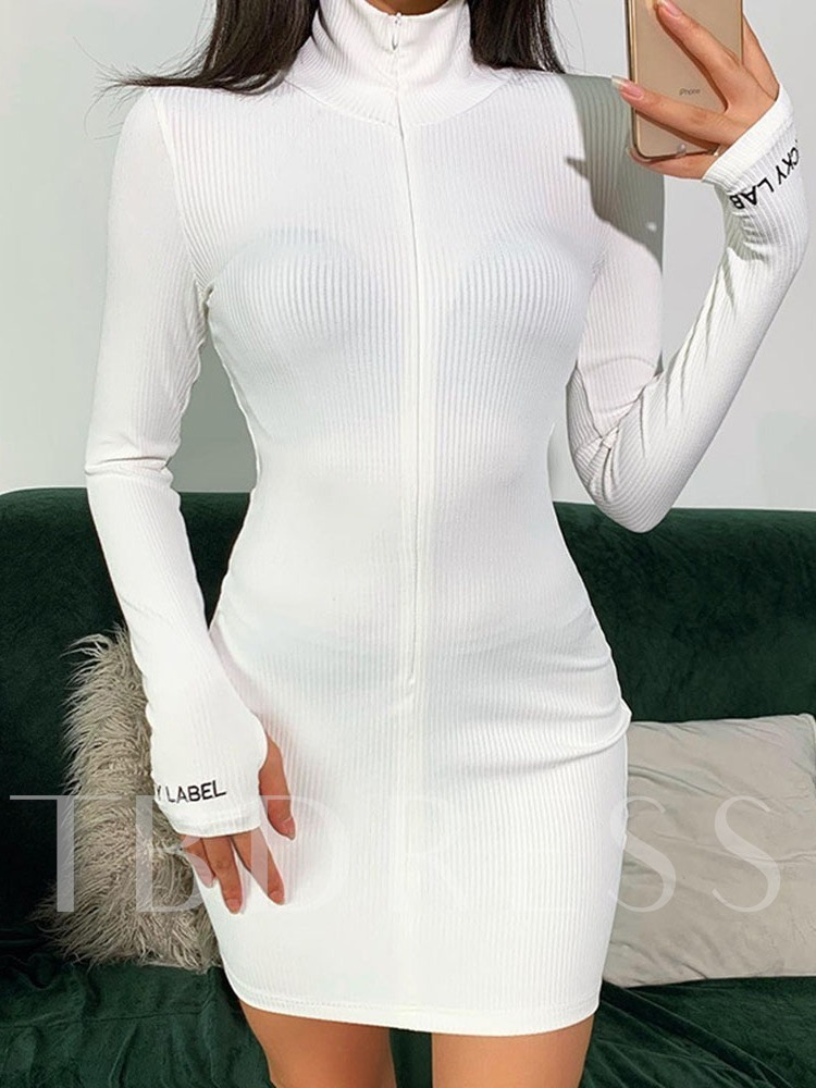 Above Knee Long Sleeve Turtleneck Embroidery Sexy Women's Dress