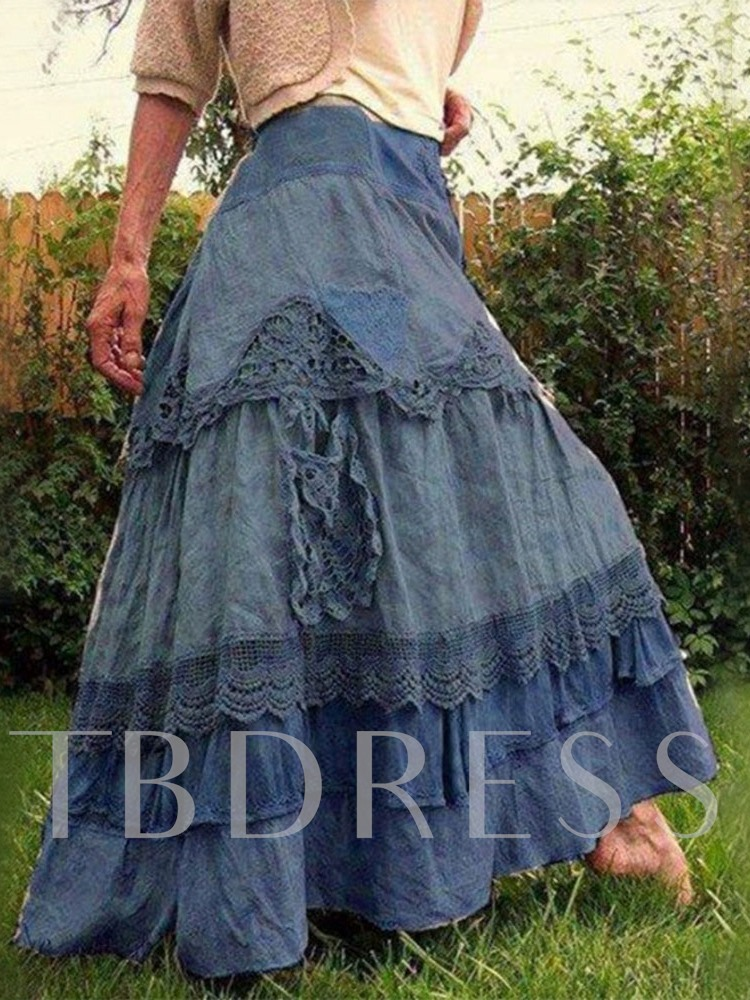 Color Block Lace Cupcake Skirts Ankle-Length Casual Women's Skirt