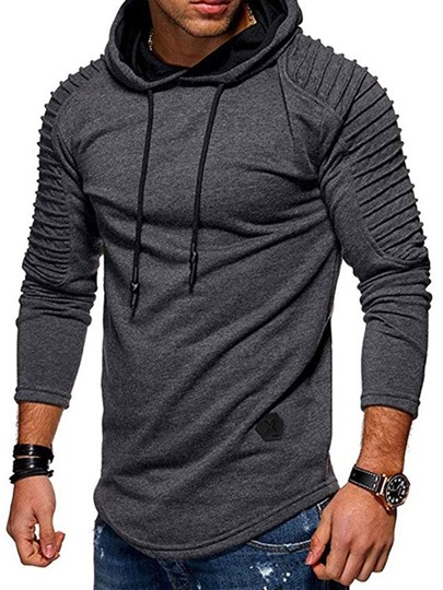 Pullover Pleated Plain Casual Mens Hoodies Pullover Pleated Plain Casual Mens Hoodies