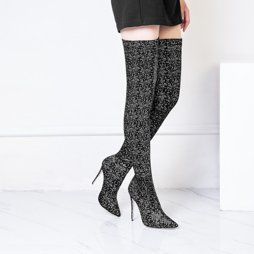 Slip-On Stiletto Heel Pointed Toe Sequin Boots