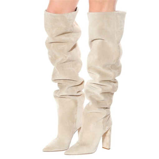 Chunky Heel Slip-On Plain Pointed Toe Casual Boots