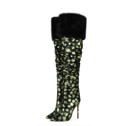 Stiletto Heel Floral Side Zipper Pointed Toe Print Boots