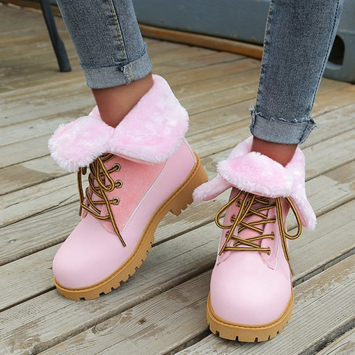 Patchwork Lace-Up Front Round Toe Block Heel Western Boots