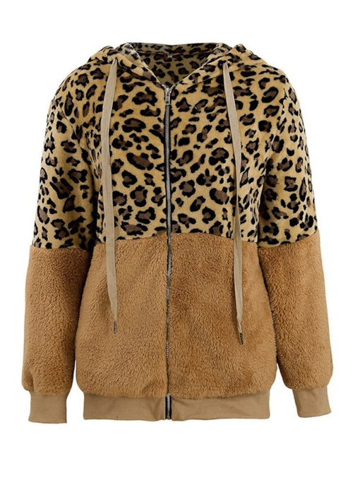 Leopard Zipper Zipper Regular Winter Women's Outerwear