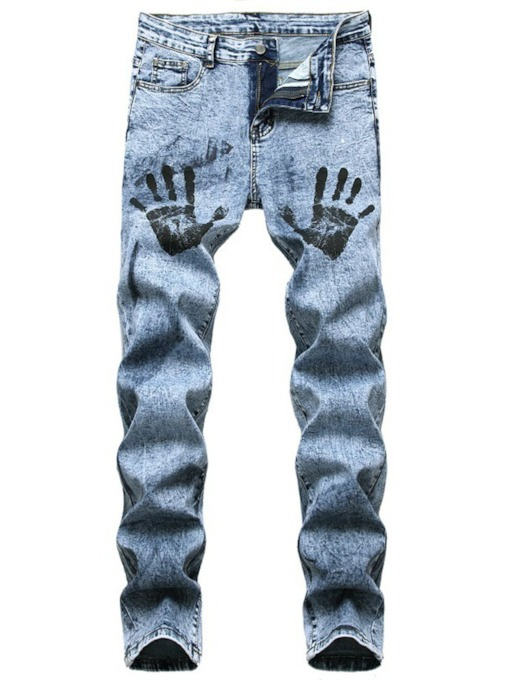 Print Straight European Slim Men's Jeans