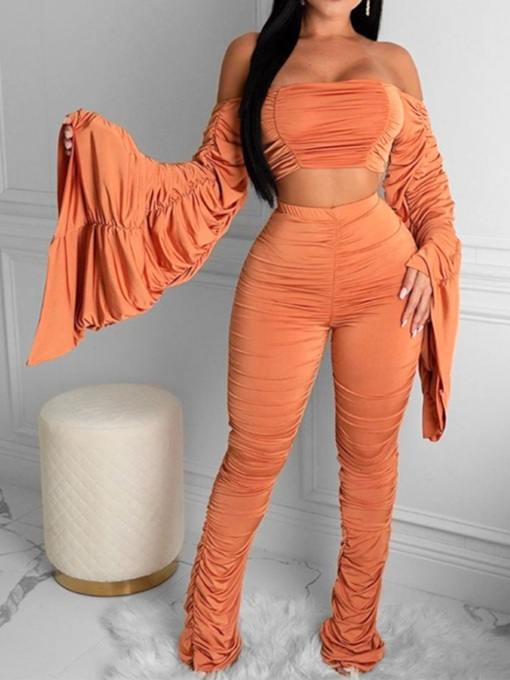 T-Shirt Pleated Plain Sexy Pullover Women's Two Piece Sets
