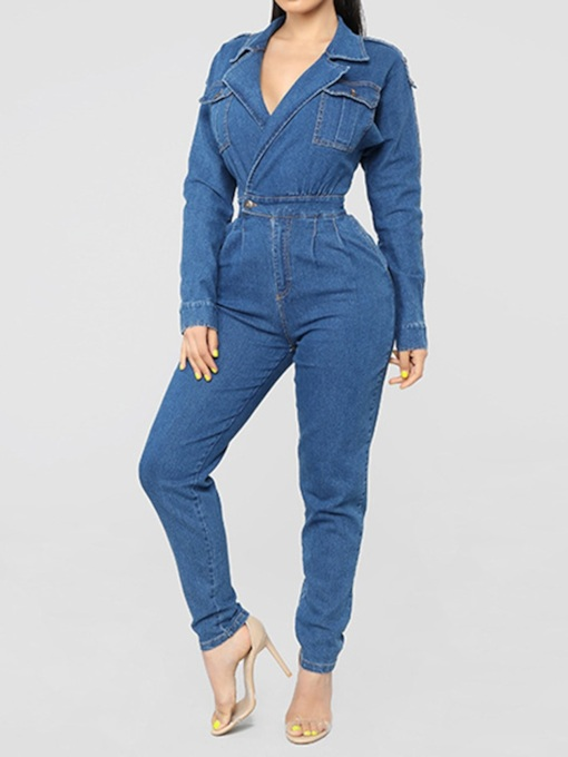 Sexy Button Plain Full Length Pencil Pants Women's Jumpsuit