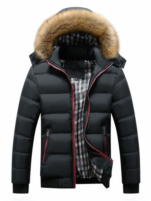 Stand Collar Standard Patchwork Color Block Zipper Men's Down Jacket