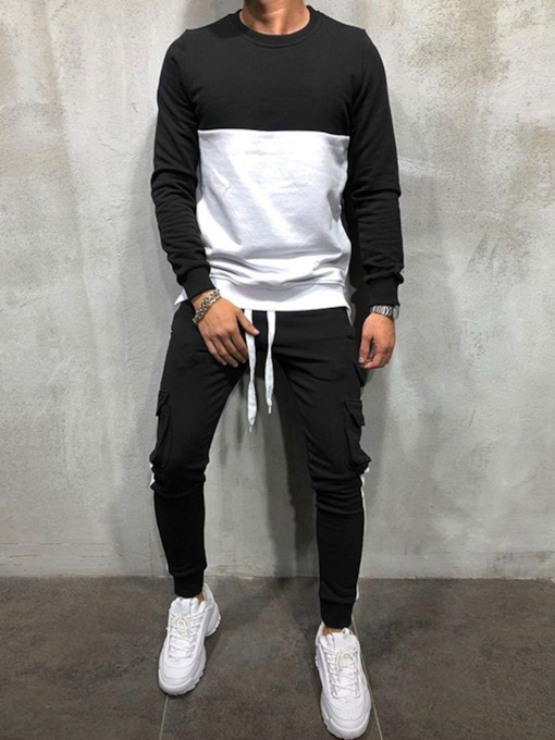 Sports Pants Patchwork Color Block Spring Men's Outfit