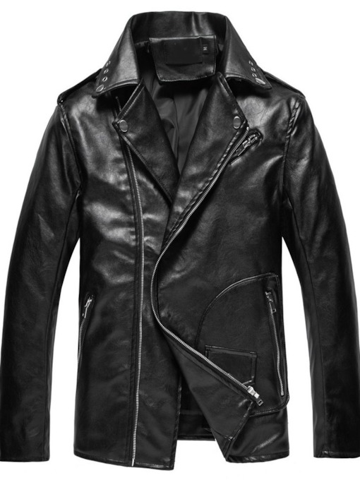 Plain Lapel Standard European Men's Leather Jacket