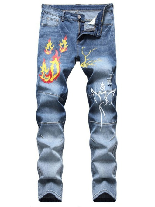 Straight Print European Men's Jeans