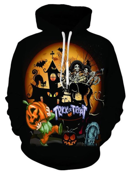 Print Pullover Loose Hooded Men's Hoodies