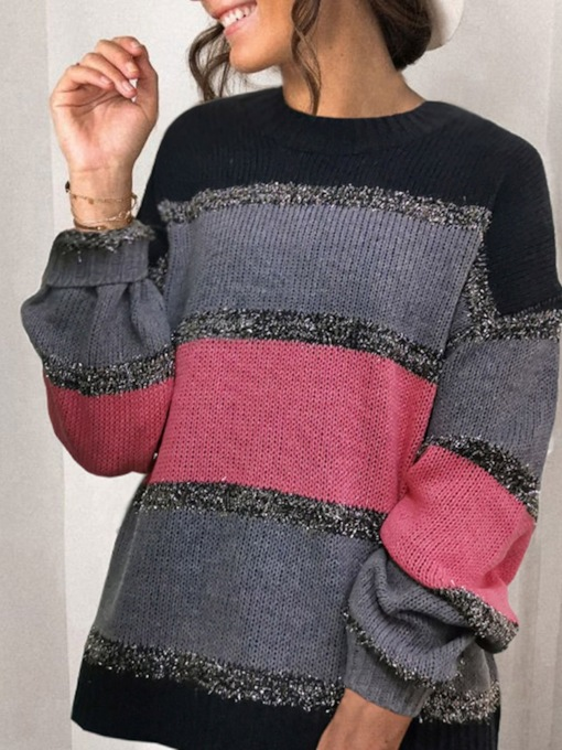 Thin Patchwork Long Sleeves Regular Fall Women's Sweater