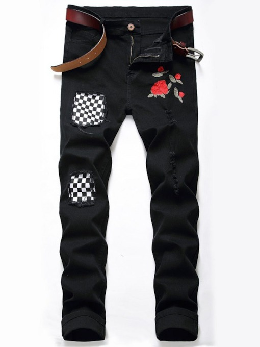 Roses Print Straight Hole European Men's Jeans