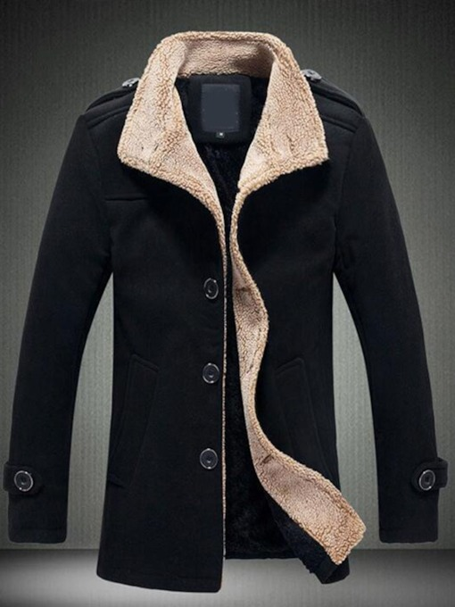 Button Plain Stand Collar Single-Breasted Men's Jacket