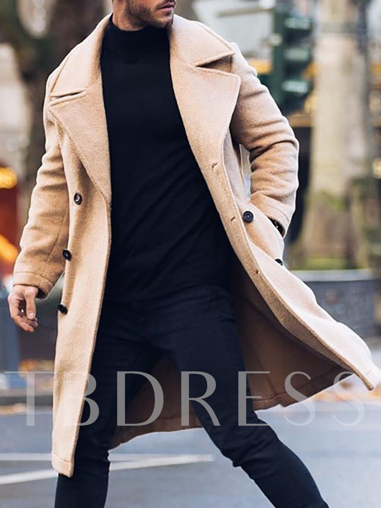 Notched Lapel Pocket Plain Mid-Length Winter Men's Coat