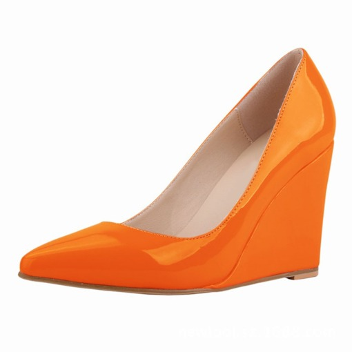Candy Color Wedge Heel Slip-On Pointed Toe Plain Thin Shoes