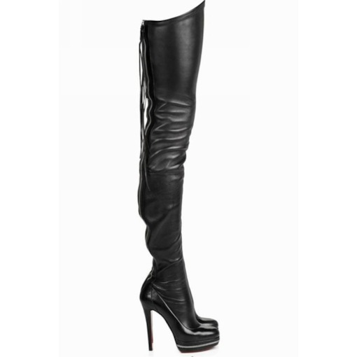 Plain Stiletto Heel Back Zip Round Toe PU Boots