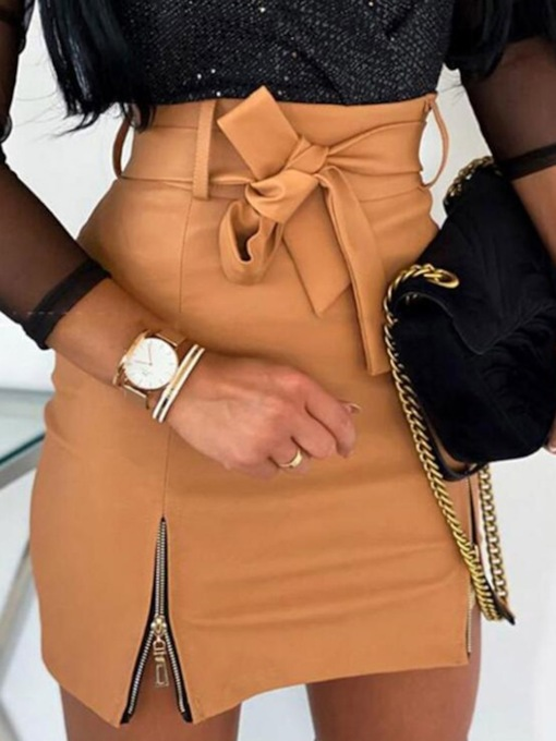 Zipper Plain Mini Skirt Bodycon Sexy Women's Skirt