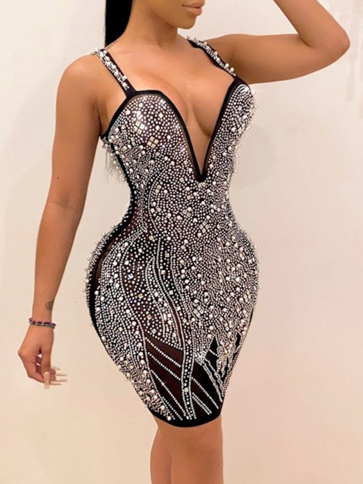 Sleeveless V-Neck Above Knee Rhinestone Bodycon Women's Dress