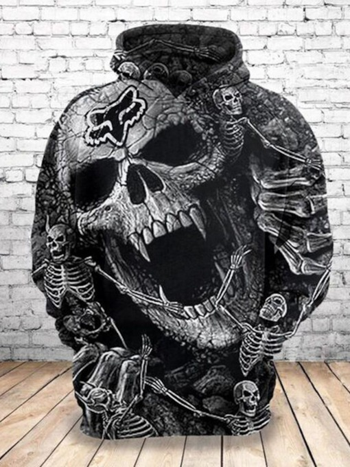 Regular Print Skull Pullover Loose Men's Hoodies
