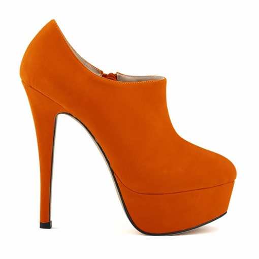 Round Toe Platform Stiletto Heel Zipper Plain Thin Shoes