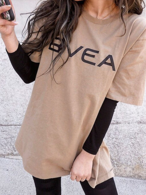 Letter Mid-Length Round Neck Long Sleeve Loose Women's T-Shirt