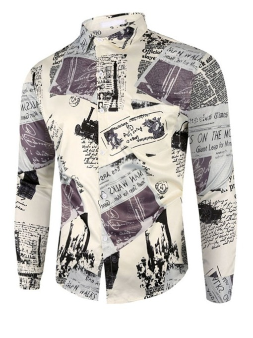 Casual Letter Lapel Print Single-Breasted Men's Shirt