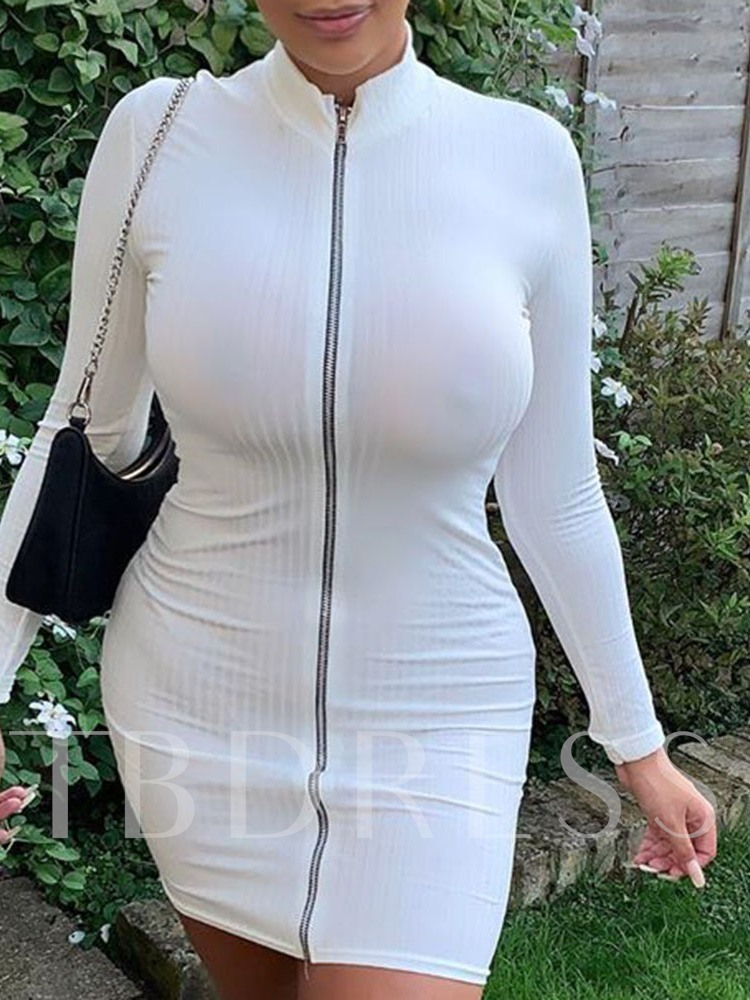 Long Sleeve Stand Collar Above Knee Bodycon Women's Dress