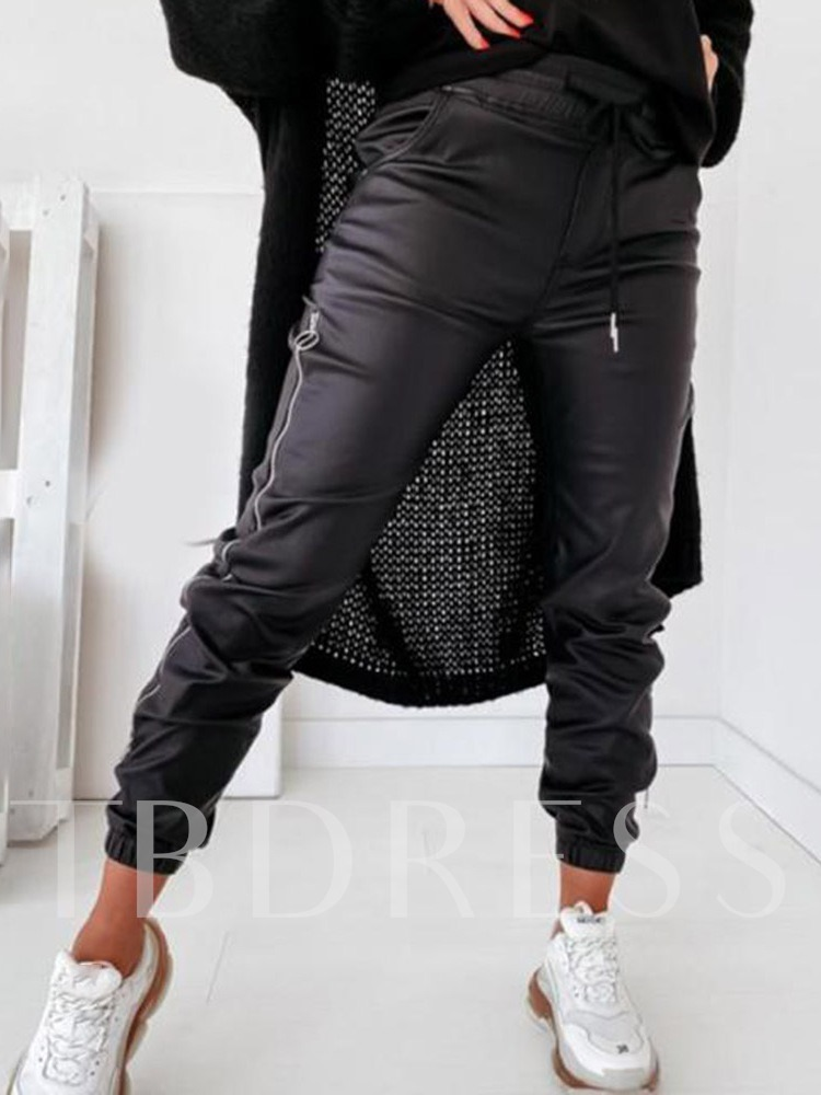 Zipper Plain Slim Pencil Pants Women's Casual Pants