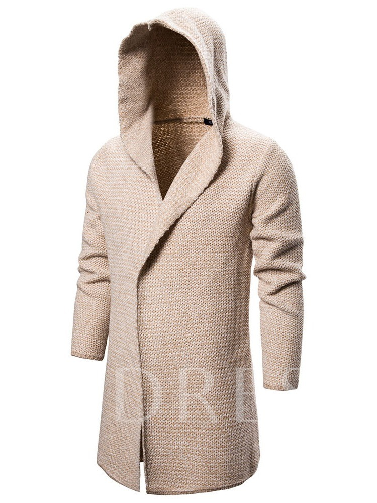 Mid-Length Plain Hooded Casual Men's Sweater