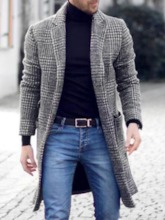 Notched Lapel Pocket Mid-Length Plaid Winter Men's Coat