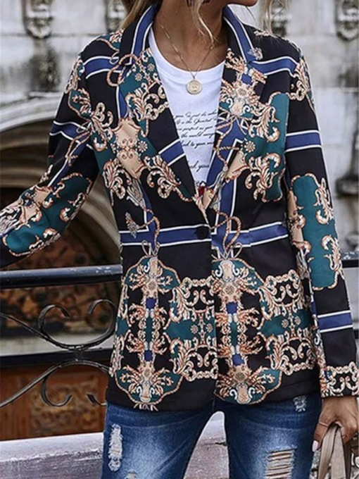 One Button Floral Notched Lapel Long Sleeve Regular Women's Casual Blazer