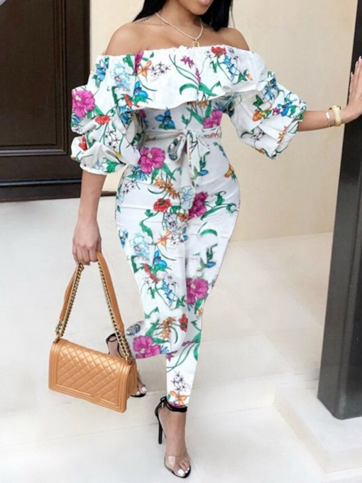 Sweet Color Block Ankle Length Print Pencil Pants Women's Jumpsuit