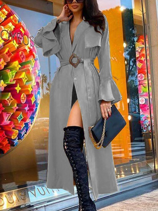 Lace-Up Long Lapel Belt Fashion Women's Trench Coat